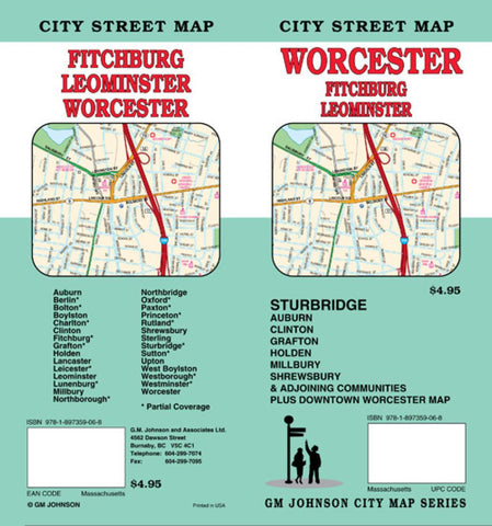 Buy map Worcester, Sturbridge, Leominster and Fitchburg, Massachusetts by GM Johnson