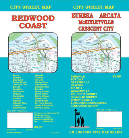 Buy map Eureka, Arcata, Crescent City and Redwood Coast, California by GM Johnson