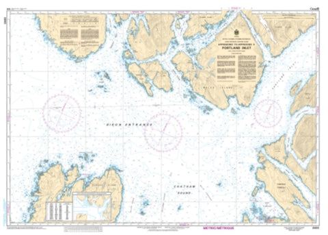 Buy map Approaches to/Approches a Portland Inlet by Canadian Hydrographic Service