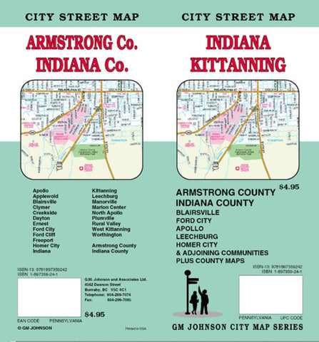 Buy map Kittanning, Armstrong, and Indiana County, PA by GM Johnson