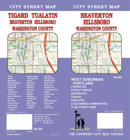 Buy map Beaverton, Hillsboro and Washington County, Oregon by GM Johnson