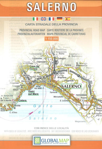 Buy map Salerno Province, Italy by Litografia Artistica Cartografica