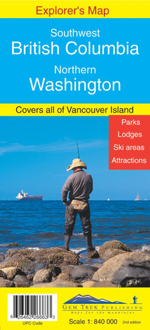 Buy map Southwest British Columbia and Northern Washington Explorers Map by Gem Trek