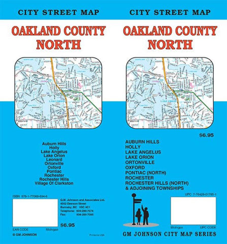 Buy map Oakland County North, Michigan by GM Johnson