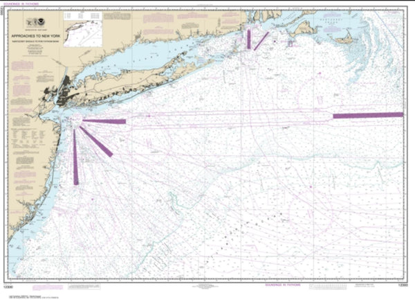 Buy map Approaches to New York, Nantucket Shoals to Five Fathom Bank (12300-49) by NOAA