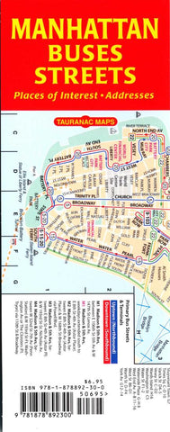Buy map Manhattan Buses and Streets by Tauranac Press