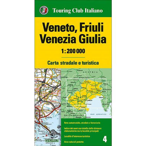 Buy map Veneto and Friuli-Venezia Giulia, Italy by Touring Club Italiano