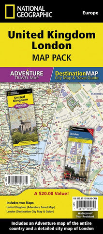 Buy map United Kingdom, London Map Pack Bundle by National Geographic Maps