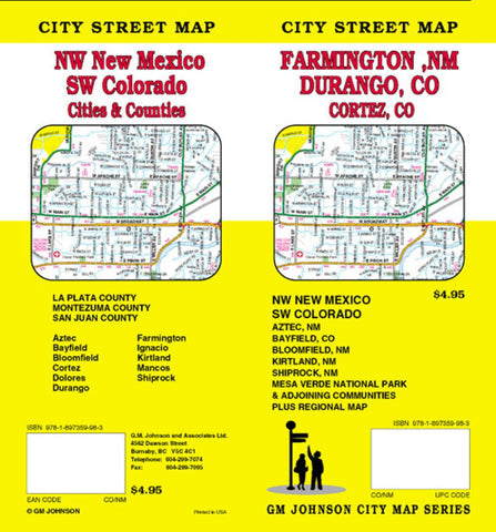 Buy map Durango and Cortez, Colorado plus Farmington, Aztec and Bloomfield, New Mexico by GM Johnson