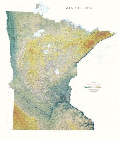 Buy map Minnesota, Physical, Laminated Wall Map by Raven Maps
