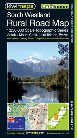 Buy map South Westland Rural Roads, New Zealand, Topographic Map by Kiwi Maps