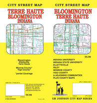 Buy map Bloomington and Terre Haute, Indiana by GM Johnson
