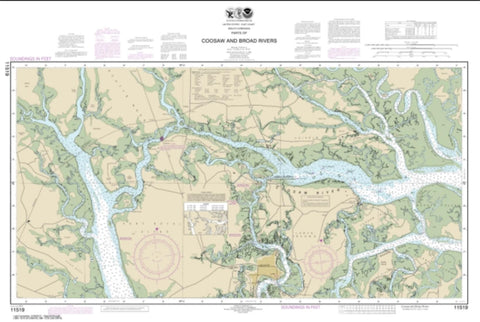 Buy map Parts of Coosaw and Broad Rivers (11519-13) by NOAA