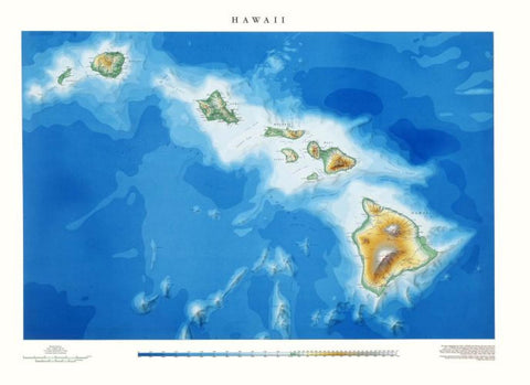 Buy map Hawaii, Physical, Laminated Wall Map by Raven Maps