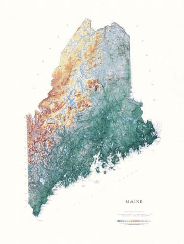 Buy map Maine, Physical, Laminated Wall Map by Raven Maps