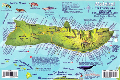 Buy map Molokai, Hawaiian Islands, Reef Creatures Fish ID Card by Frankos Maps Ltd.