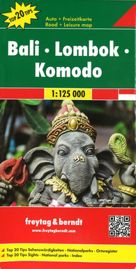 Buy map Bali, Lombok and Komodo, Indonesia Road Map by Freytag-Berndt und Artaria