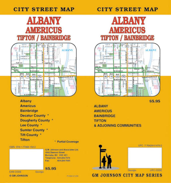 Buy map Albany, Americus, Tifton and Bainbridge, Georgia by GM Johnson