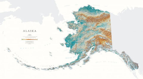Buy map Alaska, Physical, Laminated Wall Map by Raven Maps