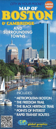 Buy map Boston and Cambridge, Masschusetts, and surrounding towns by Global Graphics