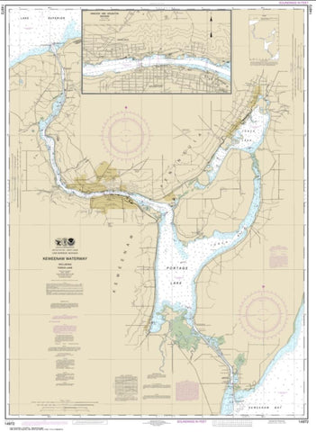 Buy map Keweenaw Waterway, including Torch Lake; Hancock and Houghton (14972-27) by NOAA