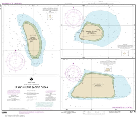 Buy map Islands in the Pacific Ocean-Jarvis, Baker and Howland Islands (83116-5) by NOAA