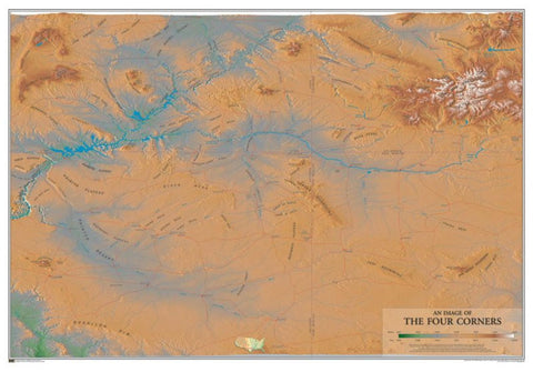 Buy map Geographic Image of the Four Corners by Time Traveler Maps