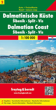 Buy map Croatia, Dalmatian Coast, Sibenik, Split and Vis by Freytag-Berndt und Artaria