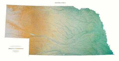 Buy map Nebraska, Physical, Laminated Wall Map by Raven Maps