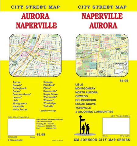 Buy map Naperville and Aurora, Illinois by GM Johnson
