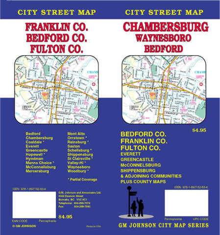 Buy map Chambersburg, Bedford, Franklin and Fulton County, Pennsylvania by GM Johnson