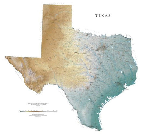 Buy map Texas, Physical, Laminated Wall Map by Raven Maps