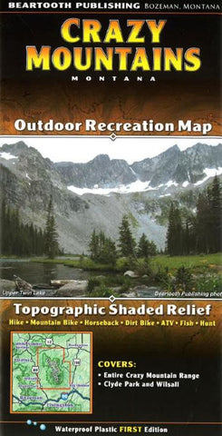 Buy map Crazy Mountains, Montana by Beartooth Publishing
