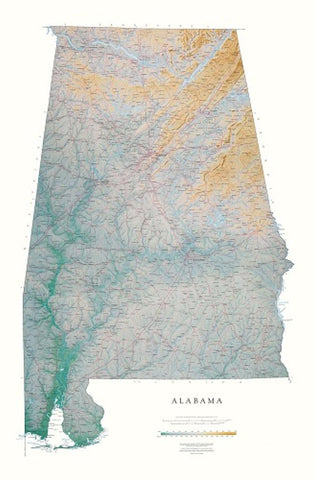 Buy map Alabama, Physical, Laminated Wall Map by Raven Maps