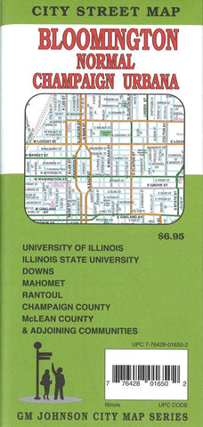 Buy map Bloomington, Normal, Champaign and Urbana, Illinois by GM Johnson
