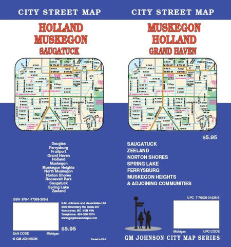 Buy map Muskegon, Holland and Grand Haven, Michigan by GM Johnson