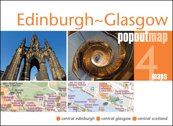 Buy map Edinburgh and Glasgow, Scotland, PopOut Map by PopOut Products, Compass Maps Ltd.