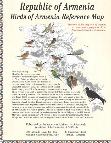 Buy map Birds of Armenia Reference Map by American University of Armenia