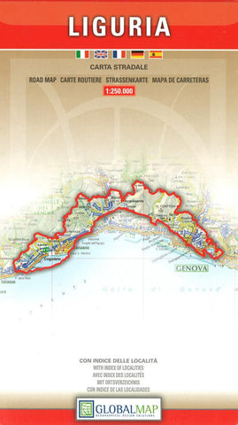 Buy map Liguria, Italy by Litografia Artistica Cartografica