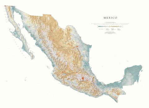 Buy map Mexico--Physical, Laminated Wall Map by Raven Maps