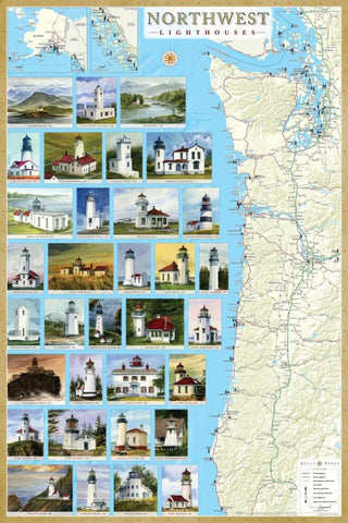 Buy map Northwest Lighthouses Map - Laminated Poster by Bella Terra Publishing LLC