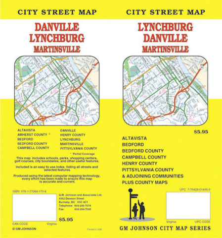 Buy map Lynchburg, Danville and Martinsville, Virginia by GM Johnson