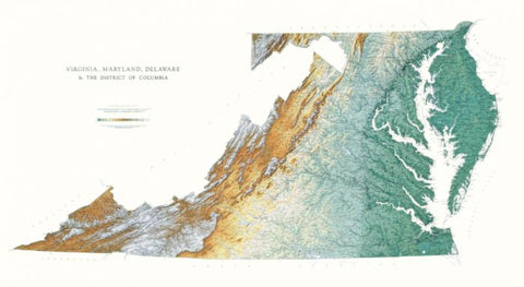Buy map Virginia, Maryland, Delaware, & DC - Physical, Laminated Wall Map by Raven Maps