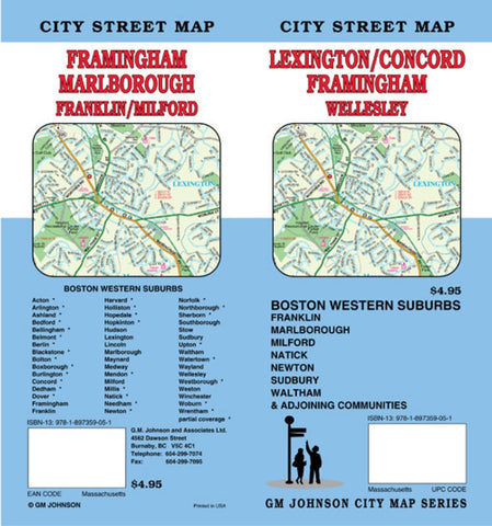 Buy map Lexington, Concord, Framingham and Bostons Western Suburbs, Massachusetts by GM Johnson