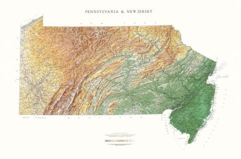Buy map Pennsylvania and New Jersey, Physical Wall Map by Raven Maps
