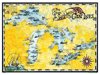 Buy map Great Lakes, Shipwreck Map by Avery Color Studios