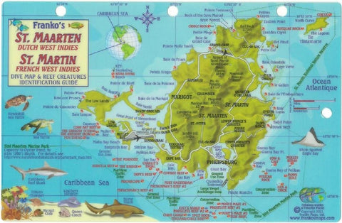 Buy map St. Maarten Dutch West Indies, St. Martin French West Indies, Dive Map by Frankos Maps Ltd.