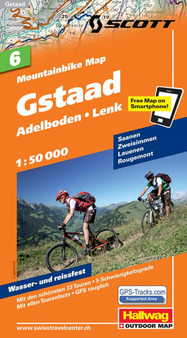 Buy map Gstaad, Lenk, and Adelboden Mountainbike Map by Hallwag