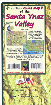 Buy map California Map, Santa Ynez Valley Wine Country, folded, 2009 by Frankos Maps Ltd.
