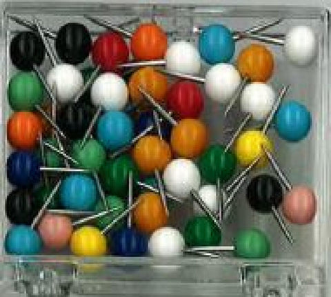 Buy map Box of 50 Large Round-Head Map Tacks, Assorted Colors by Moore Push-Pin Co.